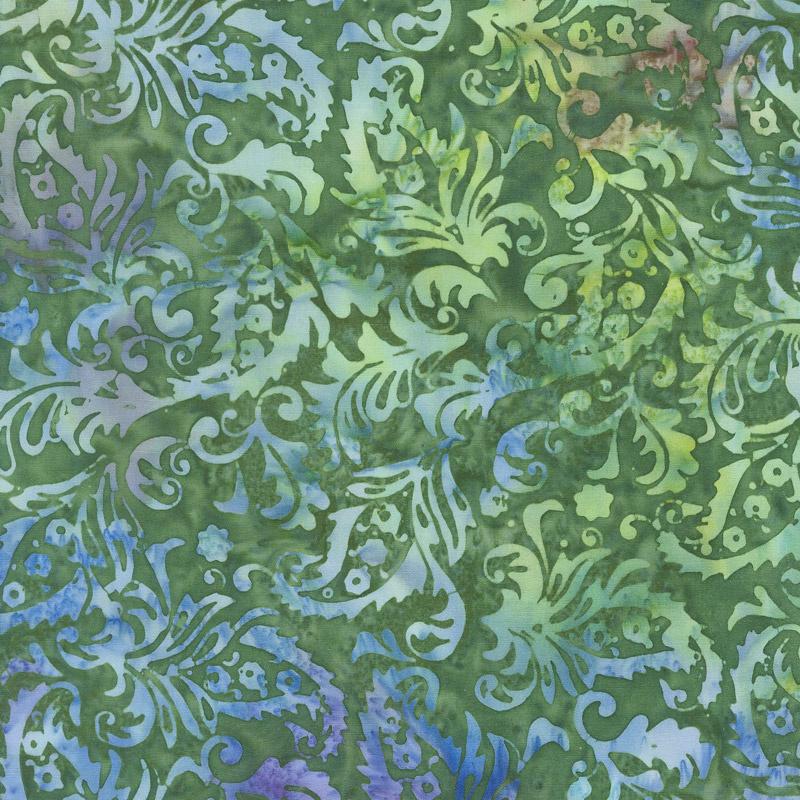 Fairy Slipper Batiks - Paisley Floral Pine Needle Yardage
