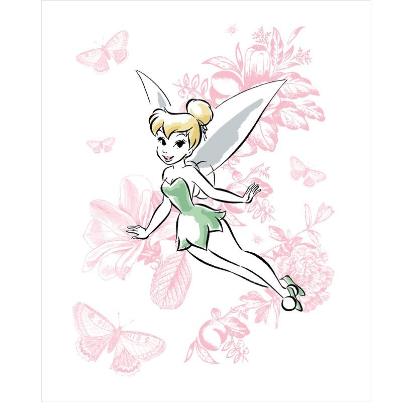 Tinkerbell - Tinker Bell Floral White Panel - Camelot Design Studio ...