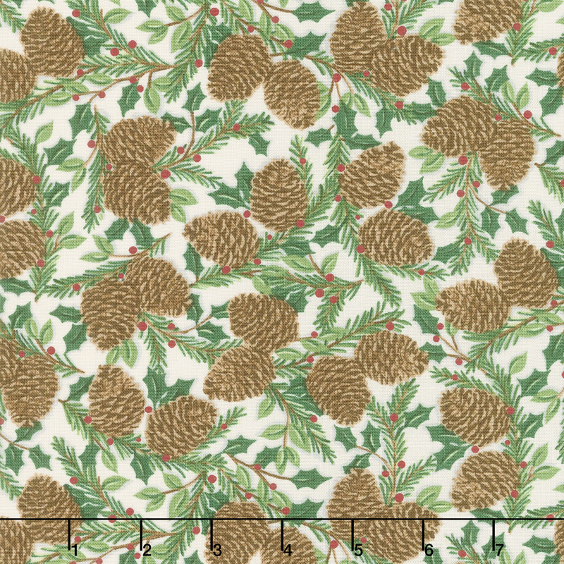 Holiday Lodge - Holiday Greenery Winter White Yardage