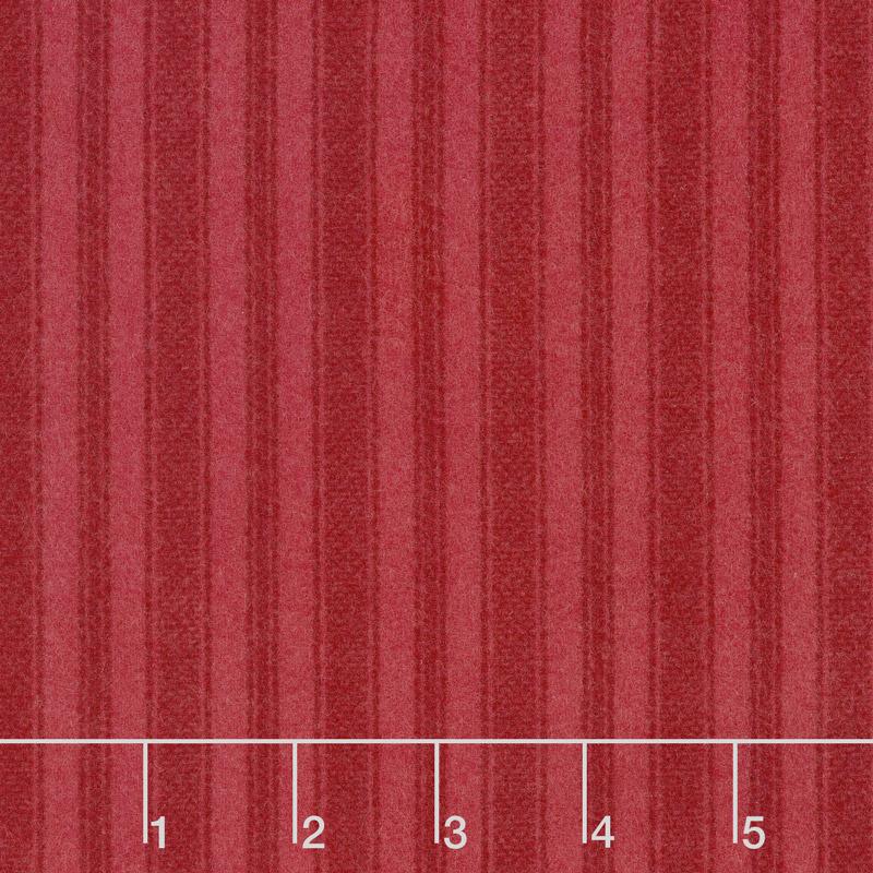 Wool & Needle Flannels VI - Ticking Stripe Hibiscus Yardage