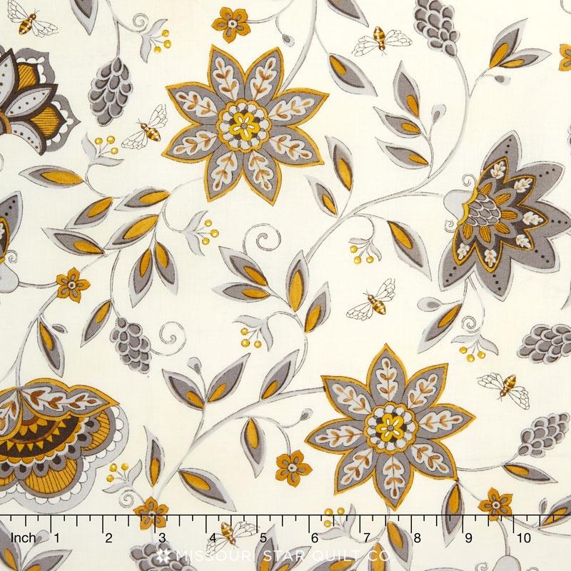 Bee Creative - Flowers & Bees Laurel White Yardage