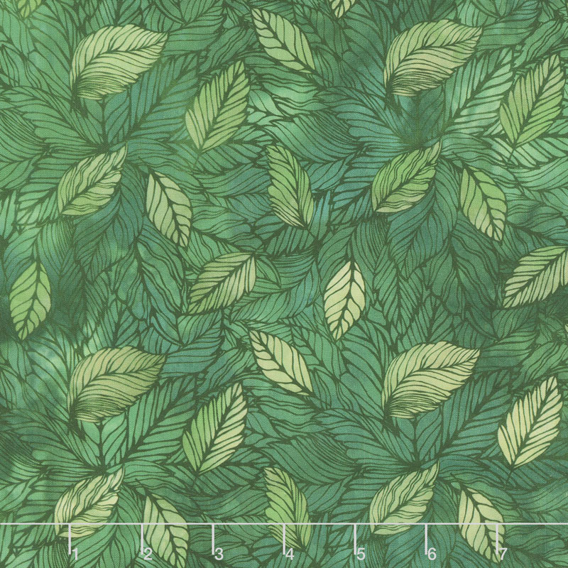 Seasons - Leaves Green Digitally Printed Yardage