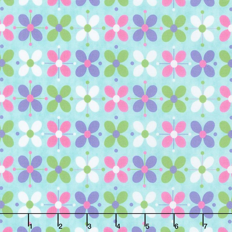 Flower Sacks - Flower Power Turquoise Yardage