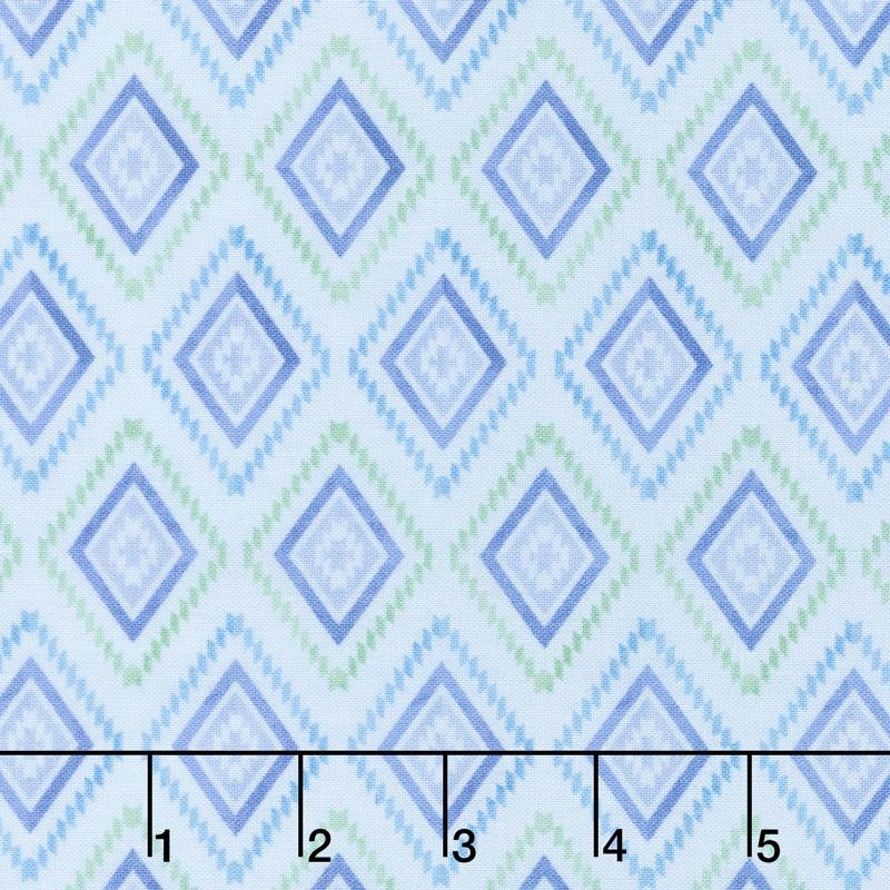 Humming Along - Diamond Geometric Blue Yardage