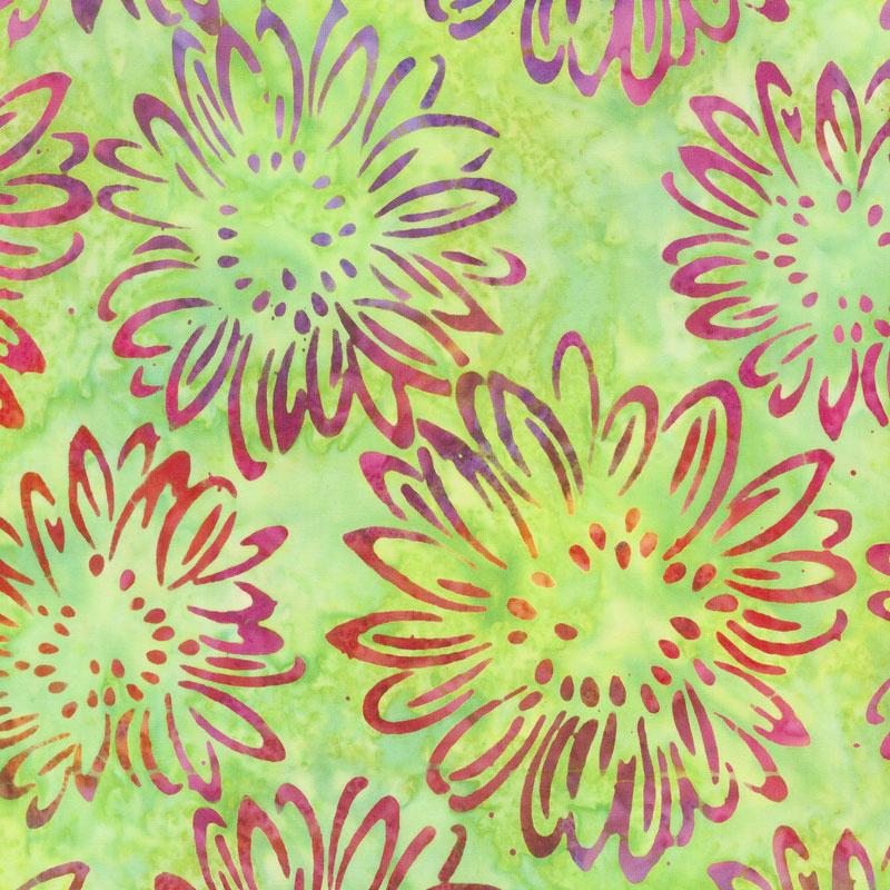 Artisan Batiks - Bright Blooms Flowers Lime Yardage