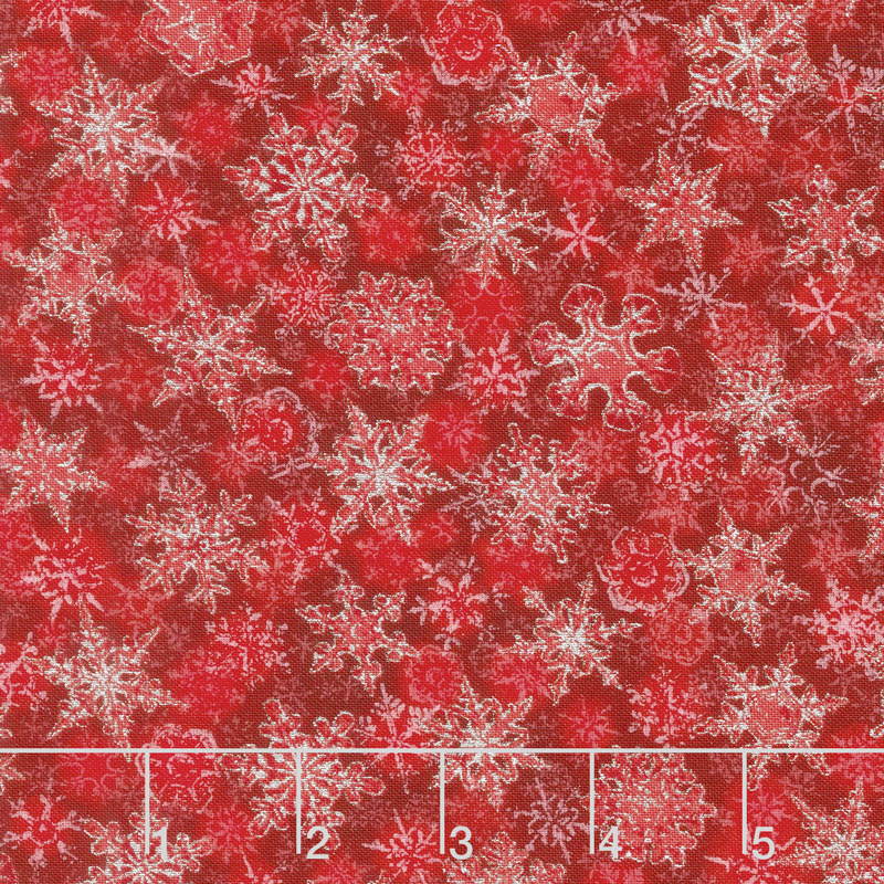 Winter's Grandeur 6 - Winter Small Flakes Scarlet Metallic Yardage
