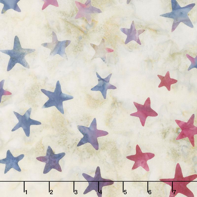 Tonga Batiks - Patriot Blue & Red Stars Yardage