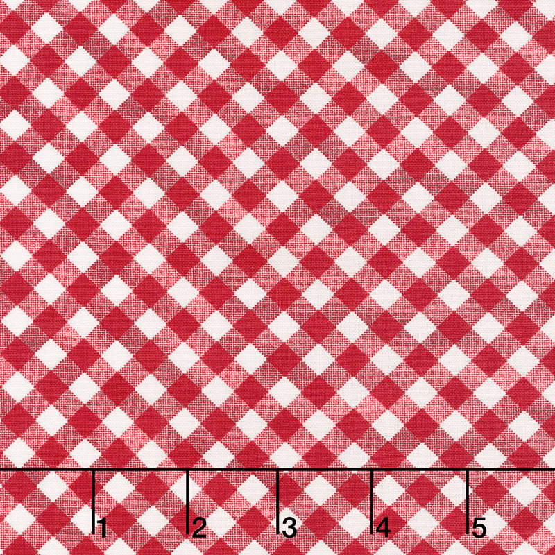 Little Snippets - Little Bias Gingham Red Yardage
