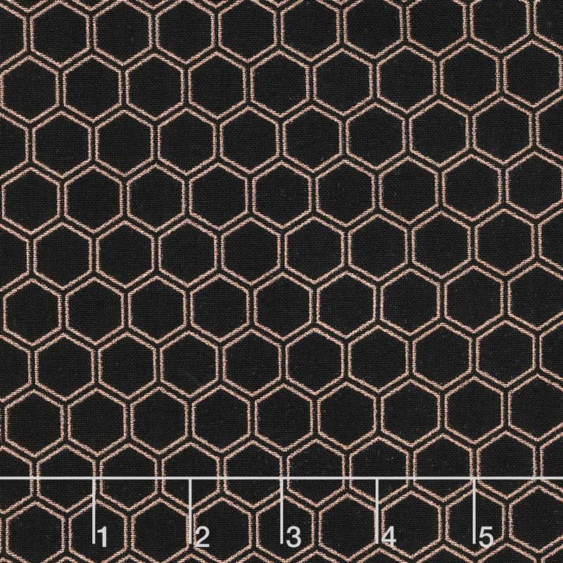 Bliss - Honeycomb Black with Rose Gold Sparkle Yardage