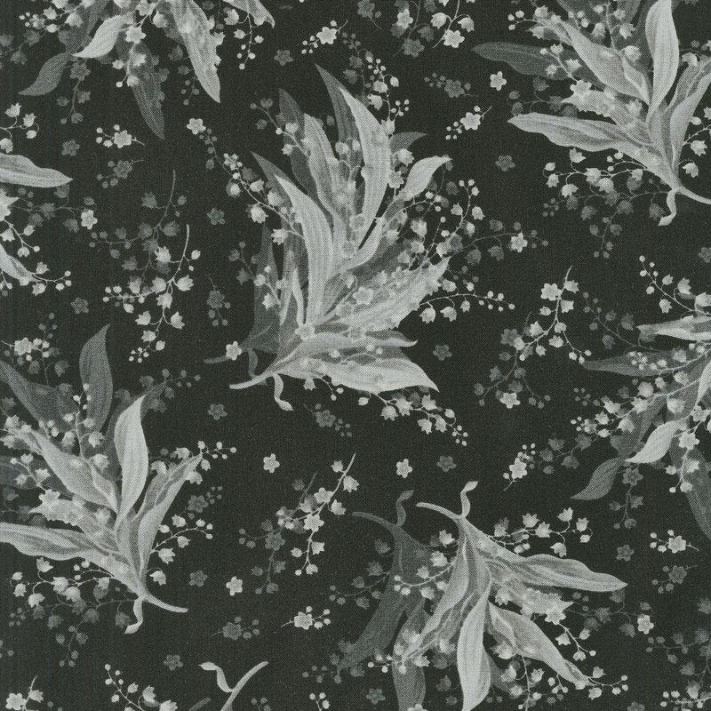 Greenery - Tonal Lily Black Yardage