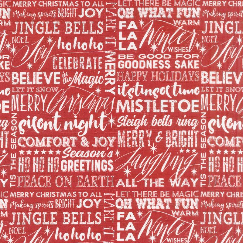 Holiday Wishes - Holiday Words White Red Yardage