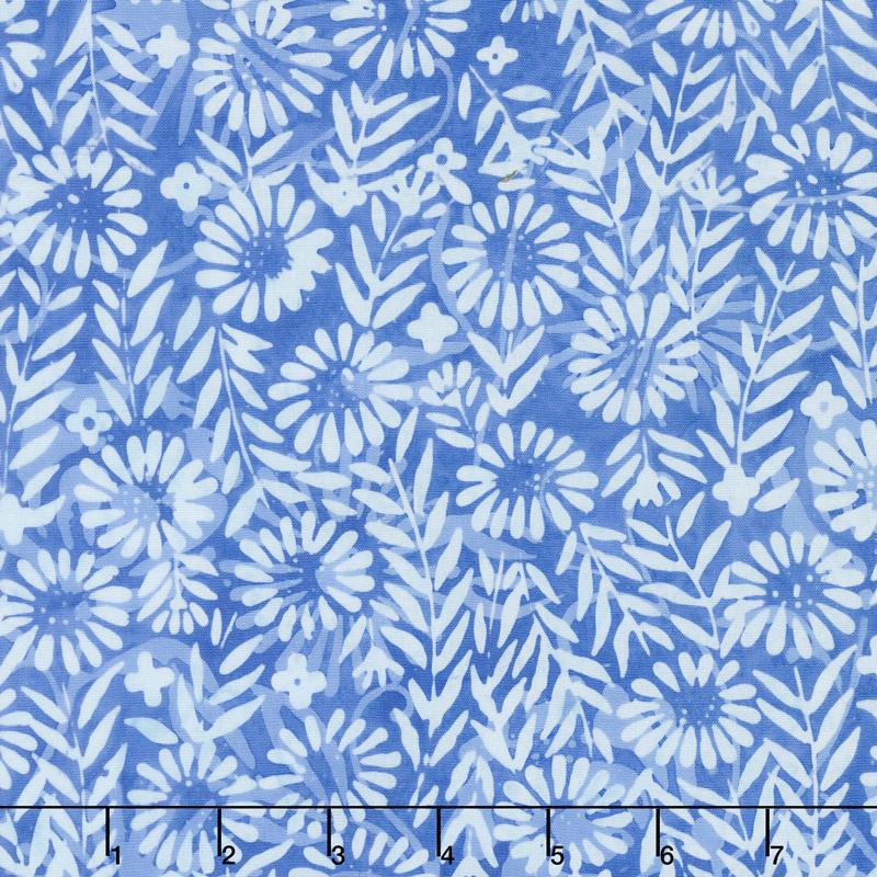 French Blue Batiks - Flower Field Sky Yardage
