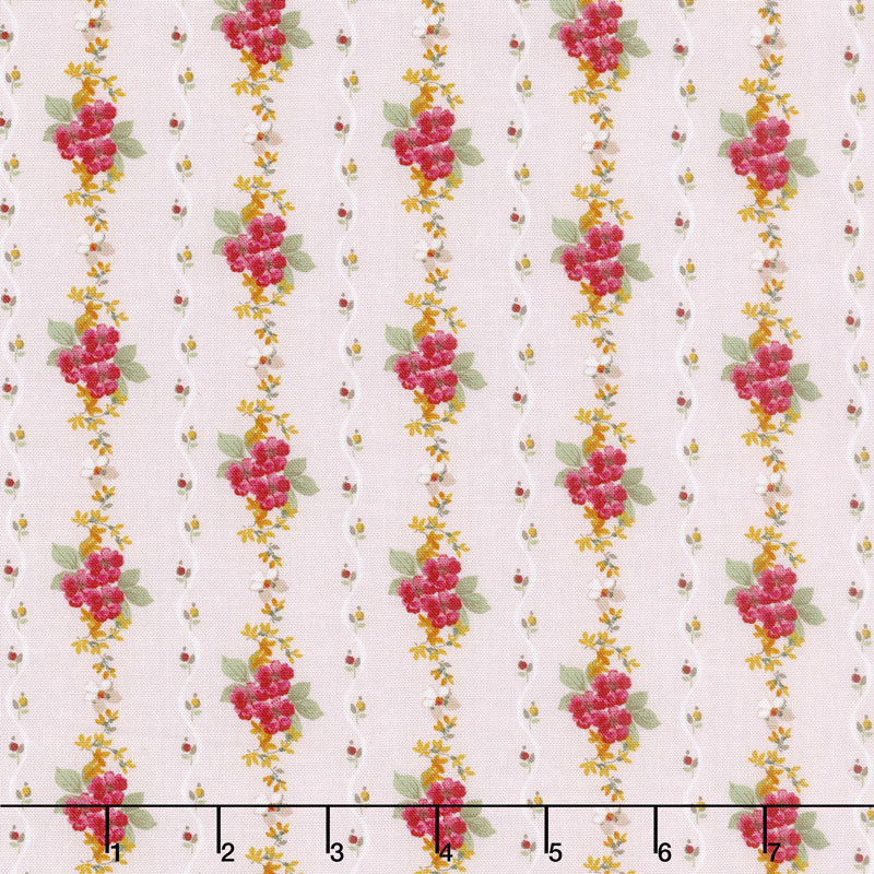 Farmhouse Floral - Stripe Pink Yardage