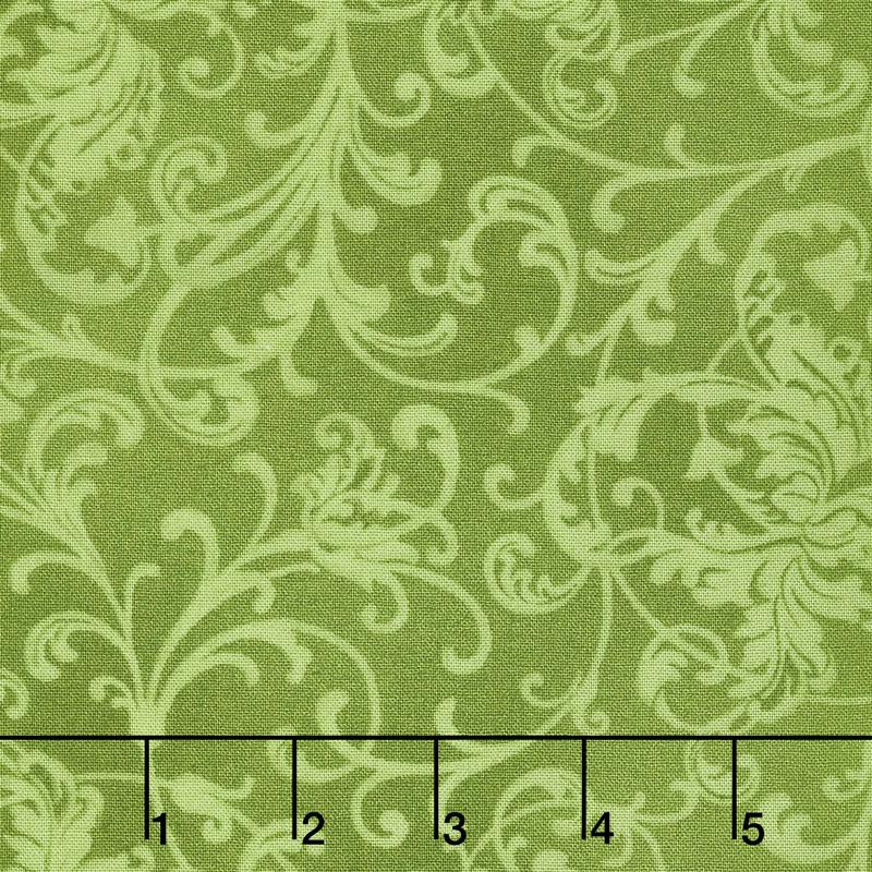 Poinsettia & Pine - Elegant Scrolls Green Yardage