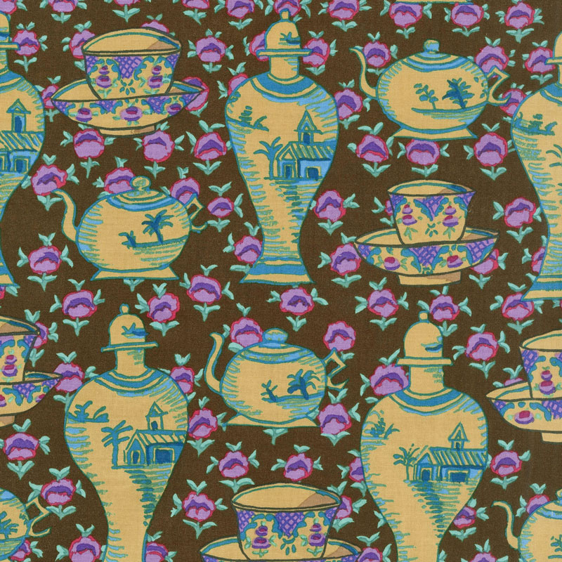 Kaffe Fassett Collective Fall 2017 - Dusk Delft Pots Brown Yardage