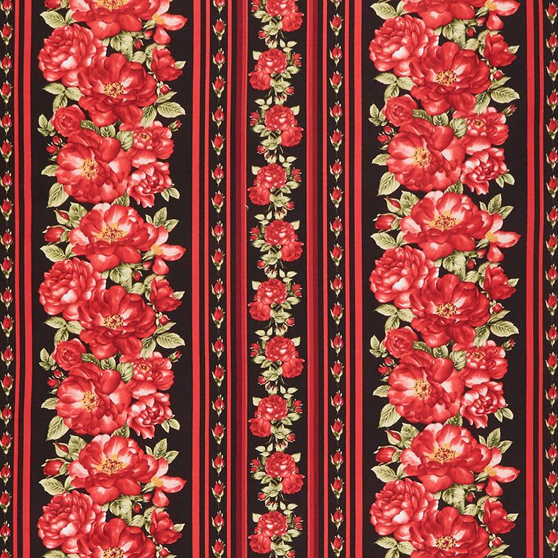 Garden Rose - Red Rose Stripe Black Yardage