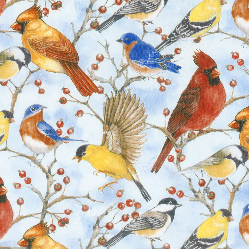 Bird Song - Allover Birds Blue Digitally Printed Yardage