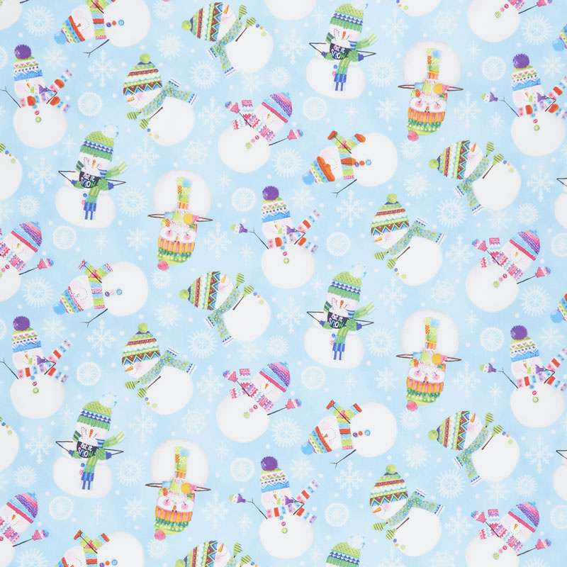 By Golly Get Jolly! - Snowman Toss Light Blue Yardage