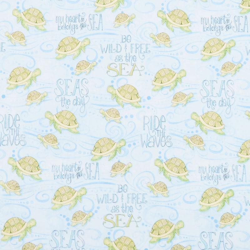 Water Wishes - Sea Turtles Blue Yardage