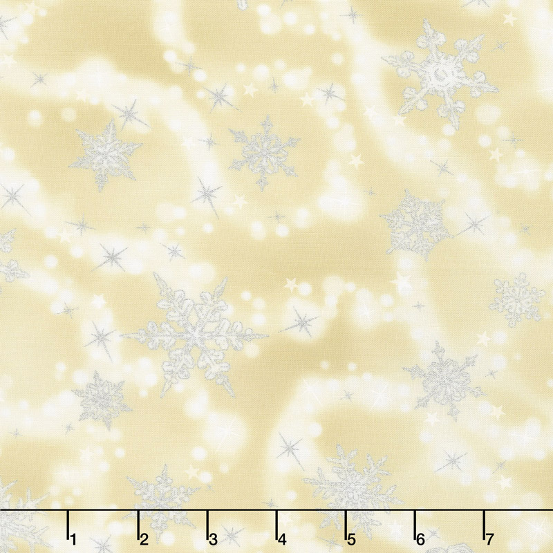 Winter's Grandeur 6 - Champagne Scattered Snowflakes Champagne Metallic Yardage