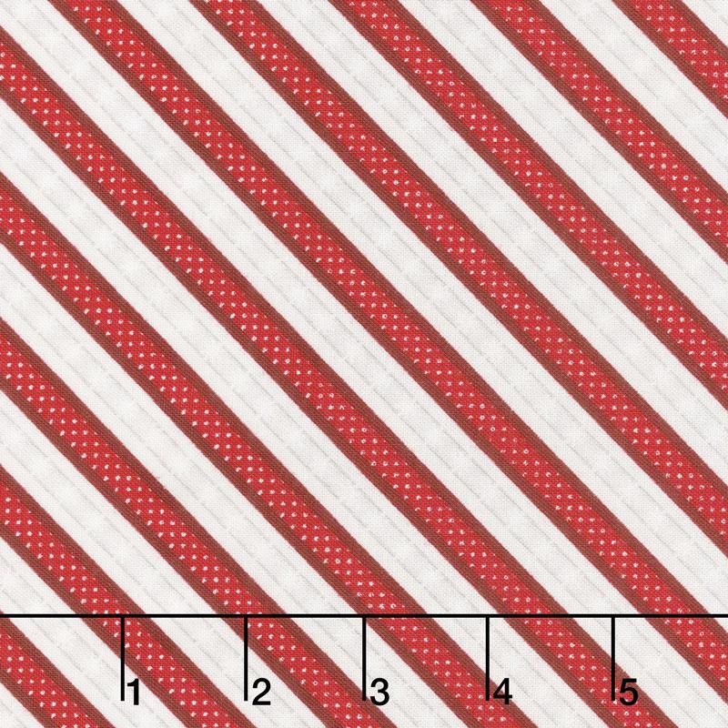 Snowy Wishes - Ticking Stripe Red Yardage