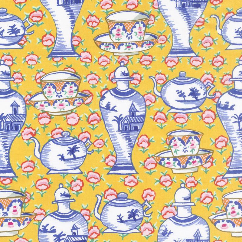 Kaffe Fassett Collective Fall 2017 - Sunrise Delft Pots Yellow Yardage