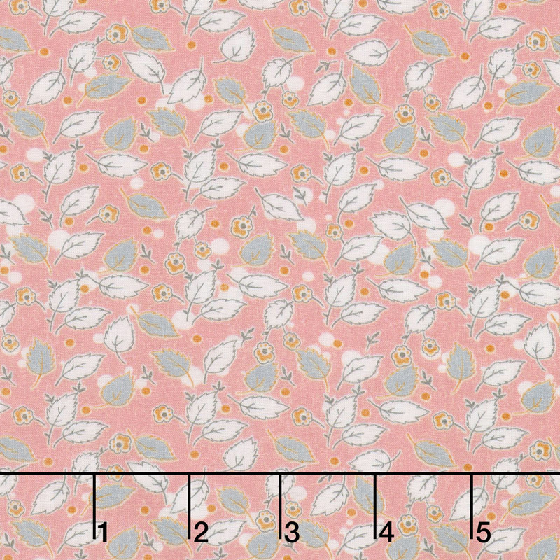Floral Hues - Leaves Pink Cotton Lawn Yardage