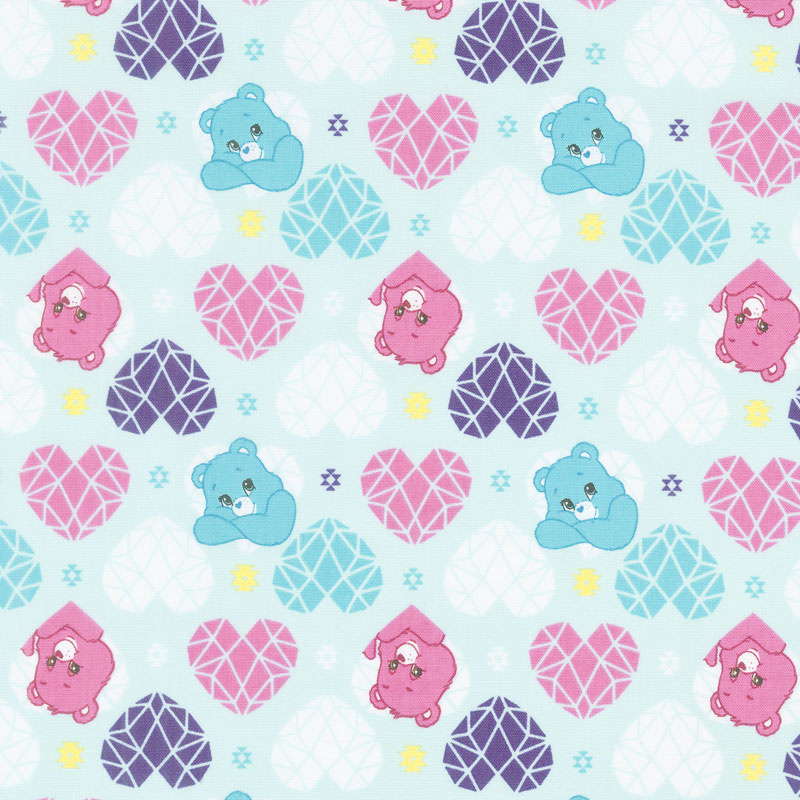 Care Bears - Sparkle & Shine Hearts in Blue Yardage