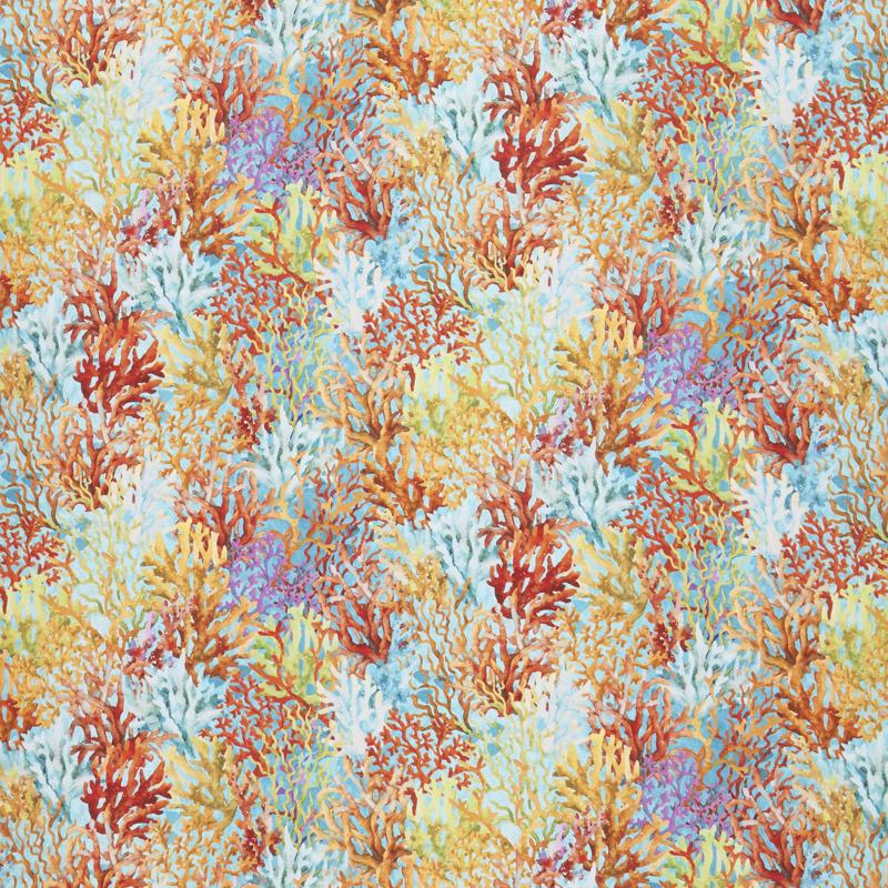 Calypso - Coral Teal Digitally Printed Yardage