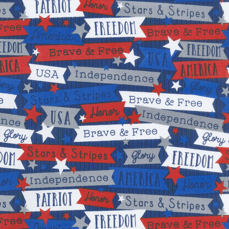 Brave & Free - Words Navy Yardage