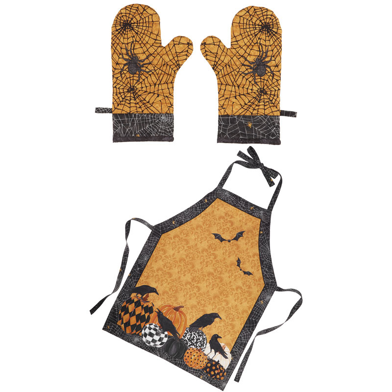 Raven's Claw - Apron and Oven Mitts Orange Multi Digitally Printed Panel