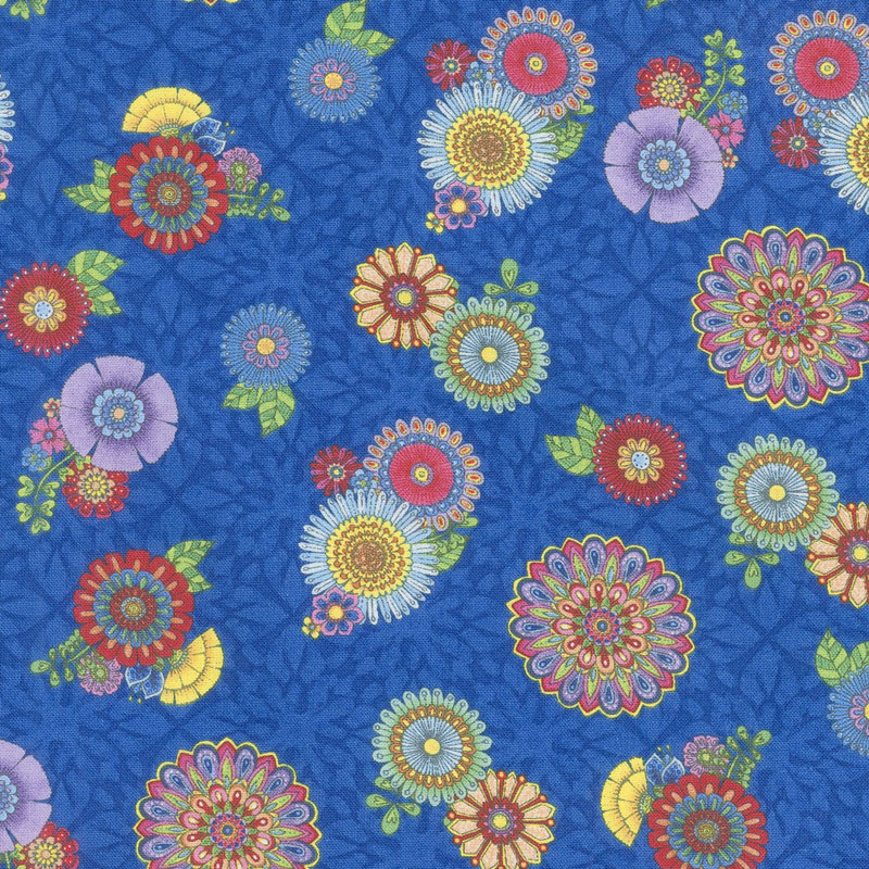 Safari, So Goodie - Tossed Flowers Blue Yardage