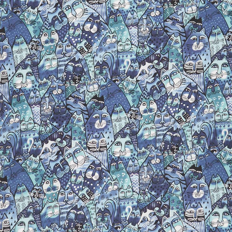 Feline Frolic - Packed Cats Royal Blue Metallic Yardage