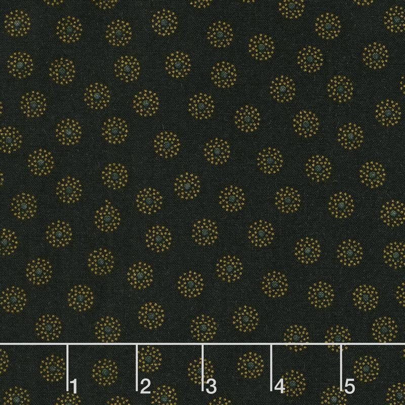 Ebony & Onyx - Clustered Dots Black Yardage