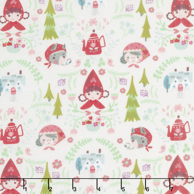 Little Red in the Woods - Damask Cream Yardage