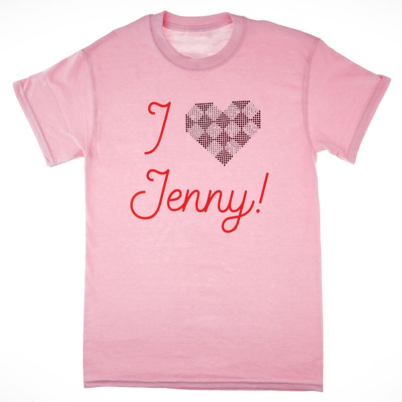I Love Jenny Rhinestone Heart Soft Pink T-Shirt - Medium
