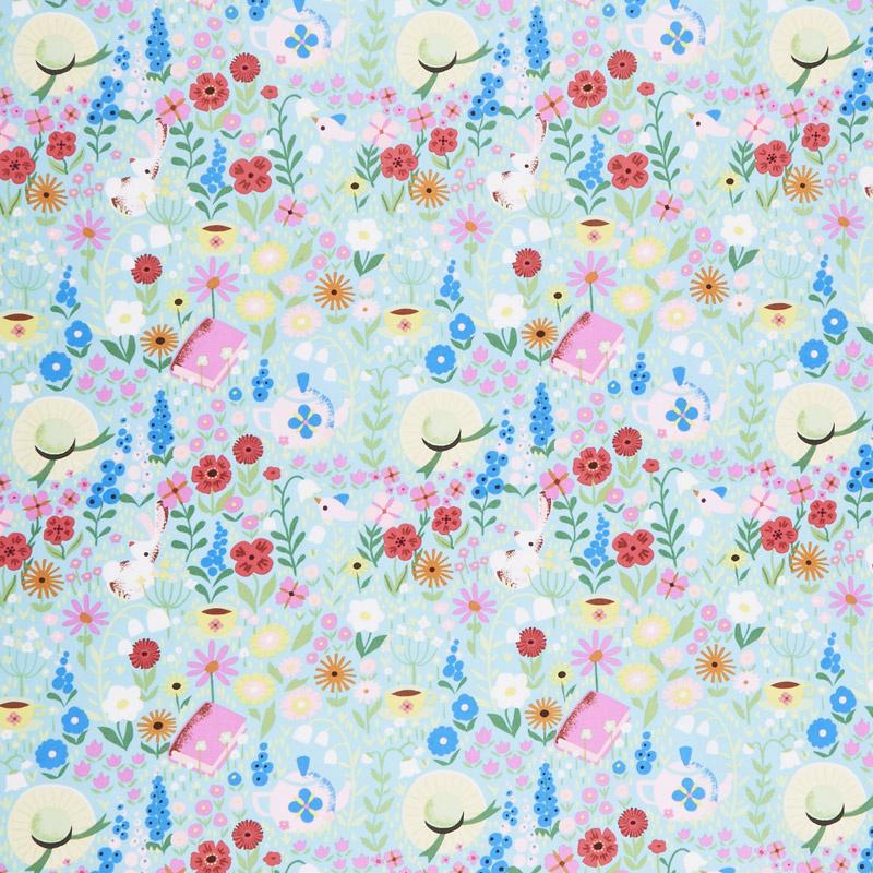 Kindred Spirits: Anne of Green Gables - Main Floral Aqua Yardage