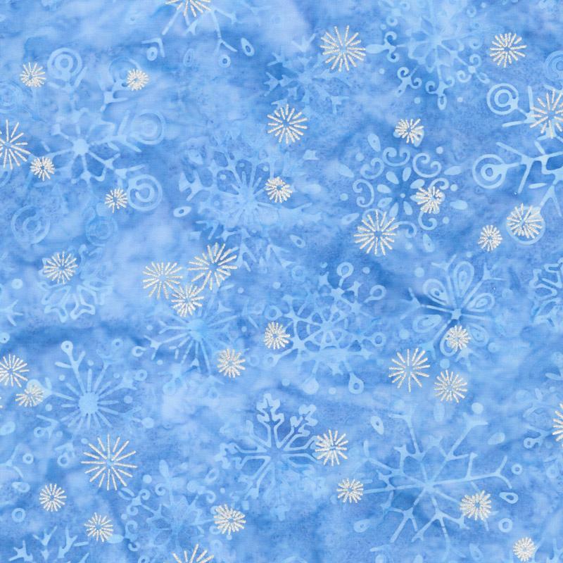 Artisan Batiks - Snowflakes 2 Snowflakes Glacier Metallic Yardage