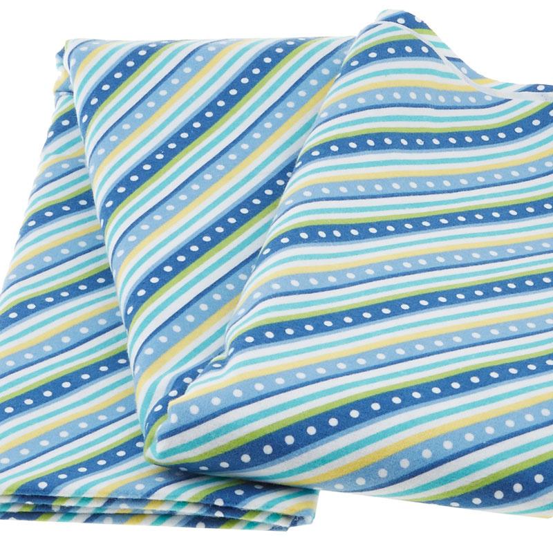 Lil' Sprout Too! Diagonal Stripe Blue Flannel Yardage 2 Yard Cut