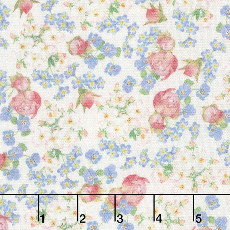 Farmhouse Rose - Flowers Ivory Yardage