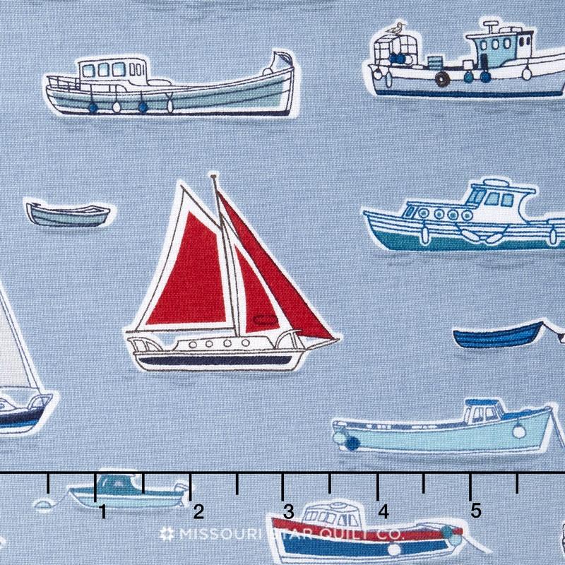 Marina - Boats Grey Yardage
