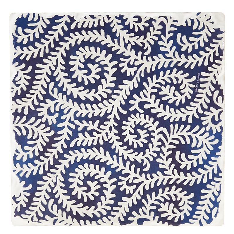 Indigo Patterns Coaster - Fiddleheads