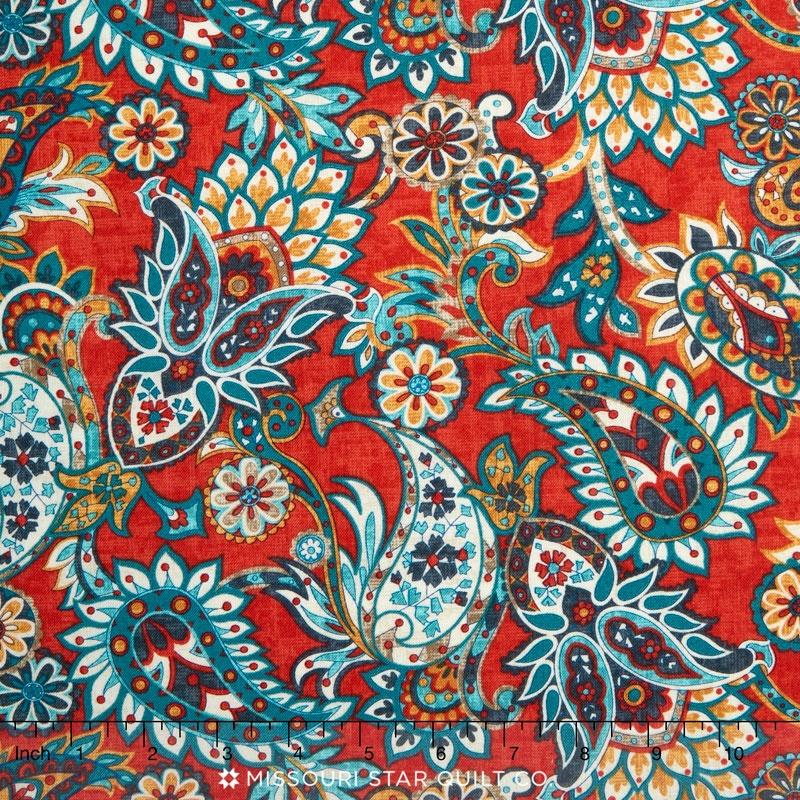 kashmir paisley red yardage rosemarie lavin windham fabrics