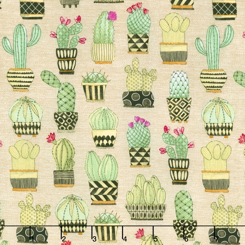 Lovely Llamas Cactus Hoedown Tan Yardage Michael
