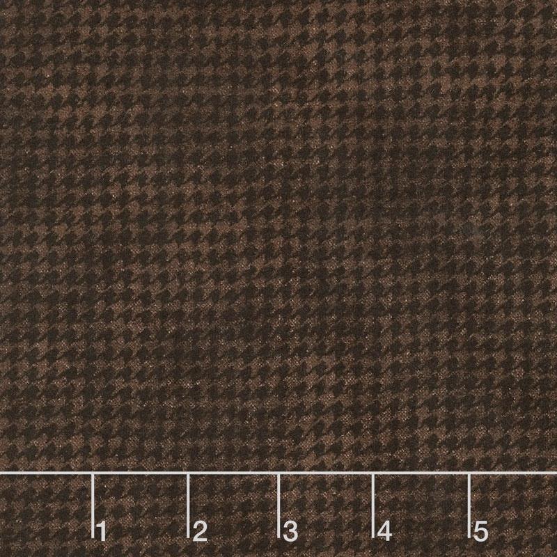 Woolies Flannel Houndstooth Black Brown Yardage Bonnie