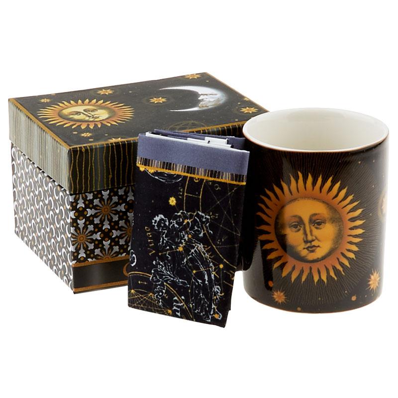 Celestial Coffee Mug with Coaster Panel