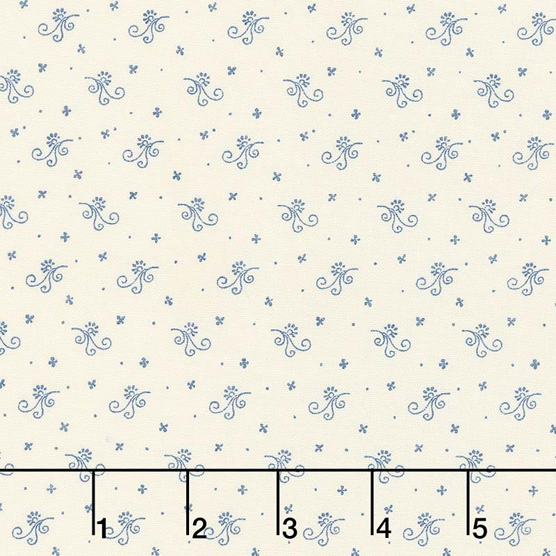 Indigo Gatherings - Flower Scroll Moon Yardage