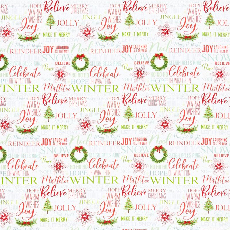 Holiday Heartland - Holiday Words on White Ground Multi Yardage