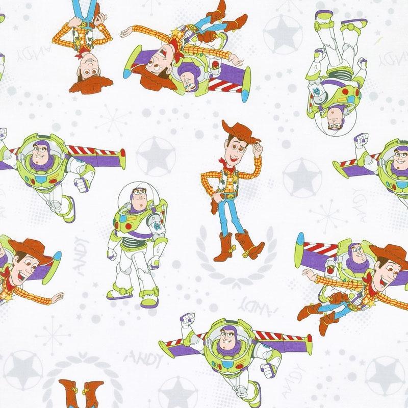 Toy Story - Buzz & Woody White Yardage