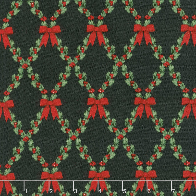 Let It Sparkle - Bows and Holly Radiant Black with Red Glitter Yardage